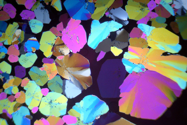 Citric acid (citrate) in polarized light.